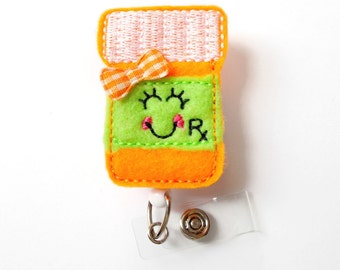Paula the Prescription Bottle - Badge Reel - RX Badge Holder - Pharmacy Badge Holder - Pharmacist Badge Clip - Pharmacy Tech Badge - RX Gift