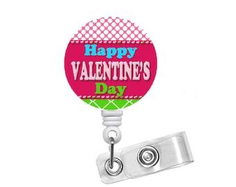 "Happy Valentines Day Badge 1.5"" - Badge Holders - Holiday Badge Reel - Medical Badge Holder - Nurse Badge - Teacher Badge - Valentine ID"