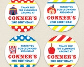 Carnival or Circus Party Favor Stickers - Sheet of 12 or 24