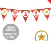 INSTANT DOWNLOAD Country Western Party - DIY printable pennant banner - Includes all letters, plus ages 1-18