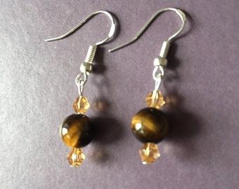 Tigers eye with golden swarovski crystal earrings