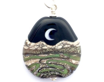 PENDANT: Handmade Lampwork Desert Paths Crescent Moon Mountain Landscape Focal Bead w/ Sterling Silver Findings