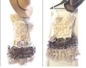 Ruffle skirt, Bohemian mini, shabby cottage chic micro mini skirt, gypsy cowgirl glam, Texas ruffle skirt, lace n linen, True rebel clothing