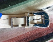 Vintage Western Silver Teal Buckle White Leather Made in France