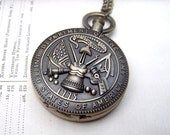 Army Pocket Watch Military Locket Watch Mens Necklace Gift for Her Gift under 25