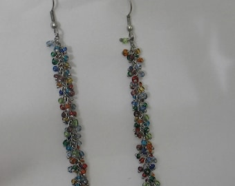 Fun Rainbow Colored Beaded Earrings on Sterling Silver  Chain