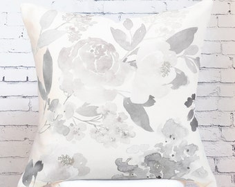 Pillow Cover Muted Grey Rose Floral