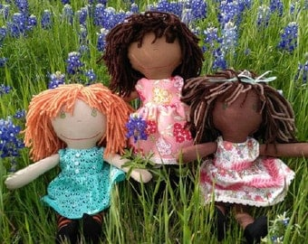 CUSTOM MADE PERSONALIZED Rag Doll, choose the skin tone, hair color, eye color, hair length, stockings or no stockings, boy or girl