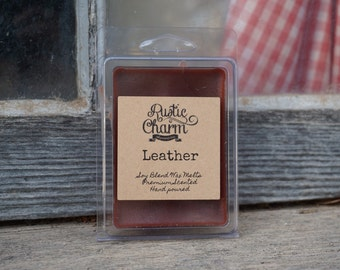 Leather Hand made Soy Blend Candle Wax Melts Breakaway Clamshell Tarts Rustic Charm