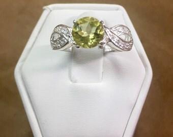 Lemon Topaz Sterling and CZ Ring Size 6