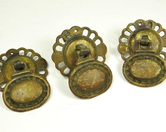 Lot of 3 Vintage Drawer Pulls Brass Renaissance Victorian