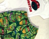 TMNT Ninja Turtle shorts, short outfit, snap-tee, snapsuit, bodysuit,  one-piece choice of name and size up to 24 months