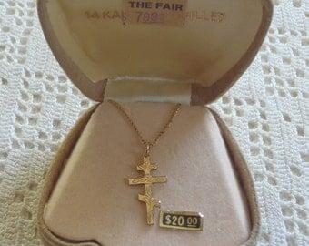 Vintage Necklace Cross Pendant 14KT GF Original Box