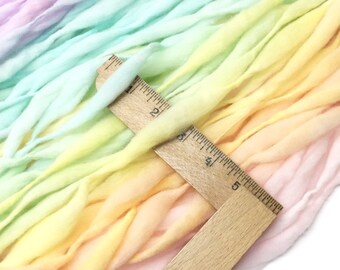 Pastel rainbow yarn handspun self striping and thick and thin in merino wool - 75 yards, 4 ounces/ 114 grams