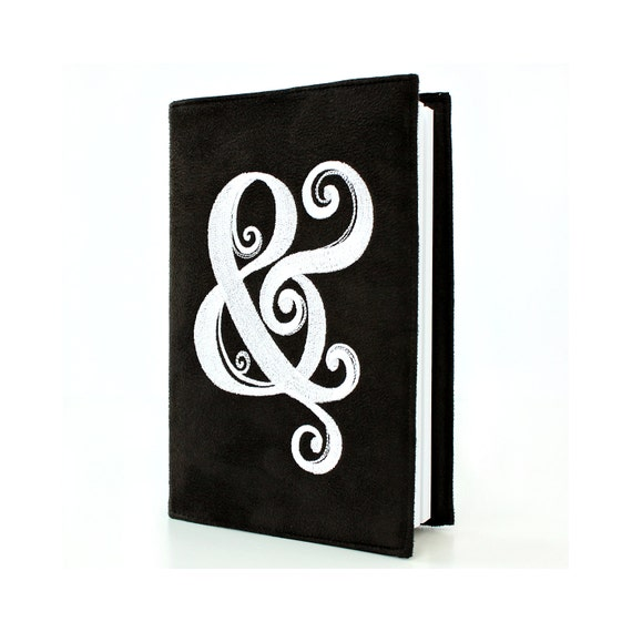 """Ampersand 5"""" x 8"""" Lined Journal with Reusable Black Microsuede Cover, Daily Diary, Wedding or Engagement Gift, Embroidered Journal Cover"""