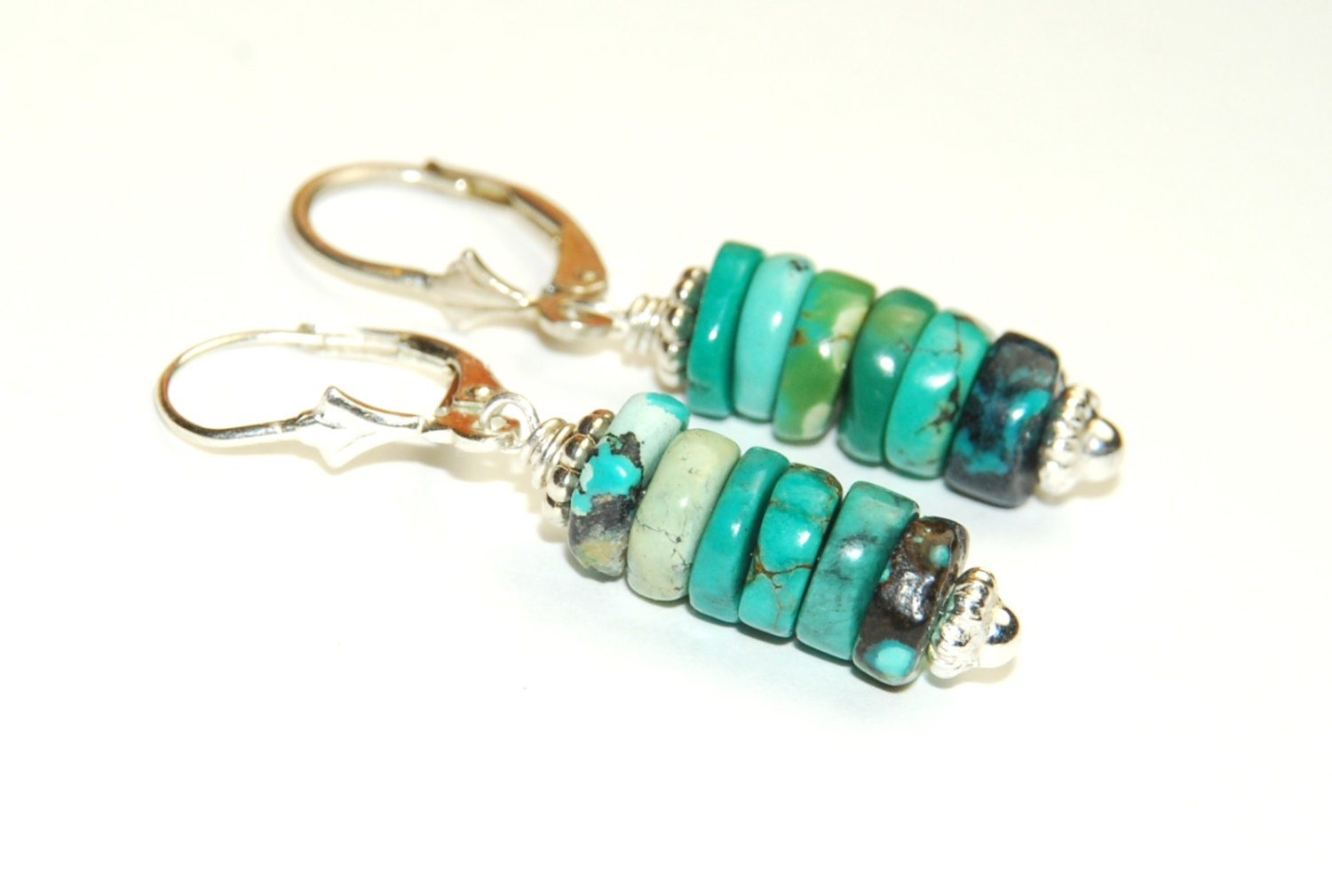 real turquoise earrings genuine turquoise earrings ombre jewelry blue earrings 5365