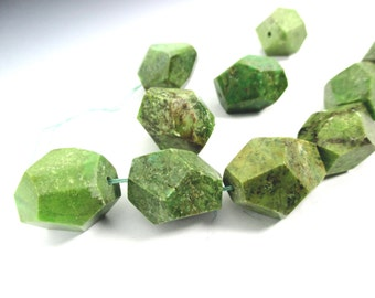 Green Turquoise Faceted Nugget Beads
