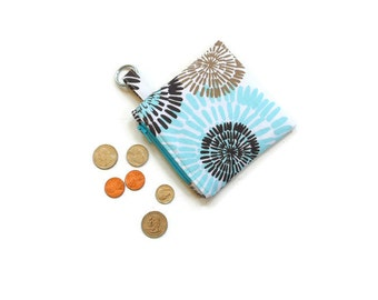 Coin purse, mini wallet, blue brown, gift for her, key ring pouch, small change purse, zipper pouch