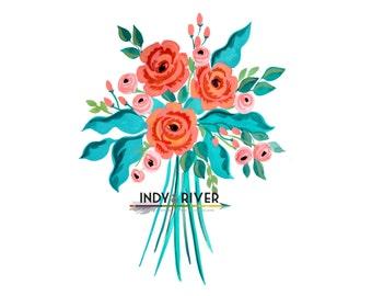 Handpainted Rose Arrangement Instant Download