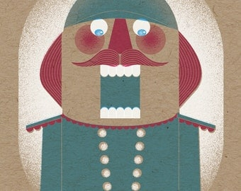 "Nutcracker Holiday Print - 8"" x 10"" Art Print on 100# French Speckletone Kraft Cover, Vintage-Inspired"