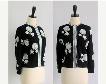 1960s Beaded Sweater 1960s Sweater 60s Sweater Winter Cardigan Womens Cardigan Large Beaded Winter Sweater Black and White Sweater Large