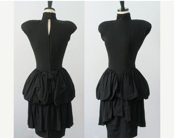 Vintage 1980s Dress 80s Dress 1980s Prom Dress Black Cocktail Dress Ruffled Skirt Dress 1980s Clothing Bubble Dress Nicole Miller Small SM