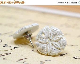 25% OFF SALE White Sand Dollar Earrings, White Glitter Sand Dollars, Beach Earrings, Nautical Earrings, Beach Wedding Jewelry, White Nautica