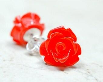 SALE Bright Red Rose Earrings, Small Red Flower Earrings, Cottage Chic Flowers Stud Earrings, The Rosie