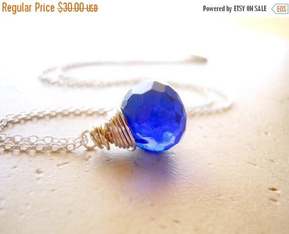 SALE Sapphire Blue Gemstone Necklace, Large Blue Stone Wire Wrapped Necklace, Blue Necklace, Silver Necklace, Blue Quartz, September Birthst