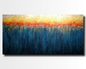 Large Abstract painting - 24 X 48 - FREE US Shipping JMJartstudio-Benaeth the surface -Wall art - Blue painting-Oil painting- Gold