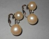 """Earrings Vintage Art Deco LARGE Chunky Flapper 2 Cream Heavy Faux Pearl Double Drop CLIP Earrings 1.5"""""""