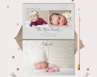 Sweet Falling Hearts Baby Announcement and Thank You Post Card - printable files