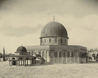 Old Jerusalem Dome of the Rock Temple Mount 1890s Victorian Jewish Muslim Holy Land Sacred Site from Historic Sepia Photography Photo Print