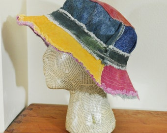 """Dyed Denim Beach Bucket Sun HAT #56 - Rustic Green Gold Red Blue Purple Dyed Upcyled Denim Fringed Frayed - Adult Size Large 23"""""""