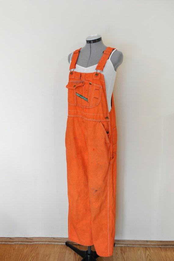 Orange Mens Large Bib Overall Pants Orange Dyed Upcycled