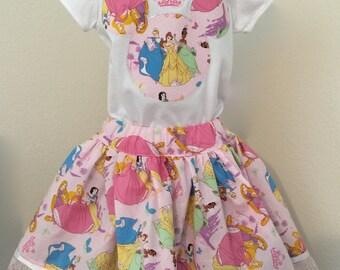 Disney  Princesses girls' twirly skirt & shirt set, perfect for Disney, Disney Cruise, photos, parties