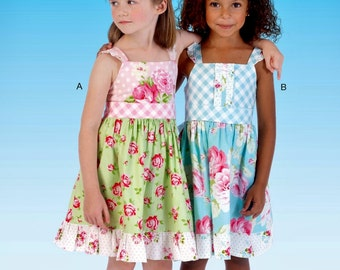 Little Girls' Sundress Pattern, Girls' Sundress Pattern, Girls' Easy Pullover Sundress Pattern, McCall's Sewing Pattern 7076