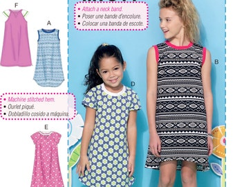 Learn to Sew a Girls' Pullover Dress Pattern, Girls' Knit Dress Pattern, Girls' Easy T-Shirt Dress Pattern, McCall's Sewing Pattern 7344