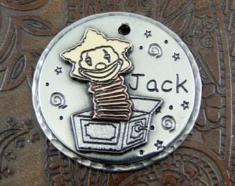 Jack In A Box - Custom Dog ID Tag - Handmade Pet ID Tag - Mixed Metal Dog Collar Tag