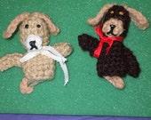 2 dog finger puppets