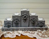 Altered Tray Candle Holders - Hand Painted Chalk Paint - Farmhouse Home Decor - Metal Roses -