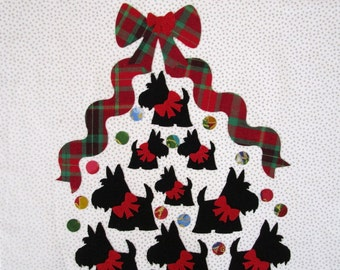 RESERVED Scottie Love Tree Fabric Quilt Block 12""