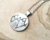 20mm Black and White Handdrawn Mountain Pendant with Antique Silver Setting and chain