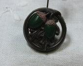 Vintage Pierced Plastic Acorn and Oak Leaf Button