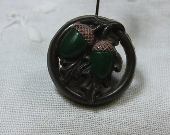 Vintage Pierced Plastic Acorn and Oak Leaf Button