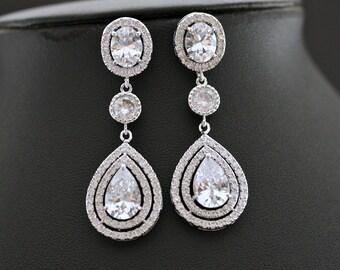 Wedding Earrings Teardrop Bridal Jewelry Cubic Zirconia Earrings Crystal Bridal Earrings Wedding Jewelry, Joni Earrings