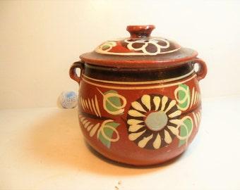 Vintage Mexican Tlaquepaque Pottery, Pot & Lid, Smaller Pot