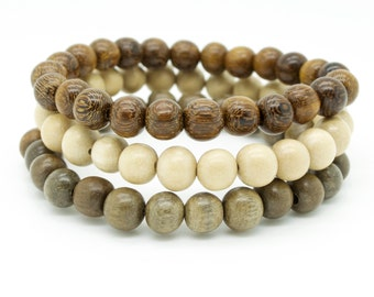 Mens natural graywood and robles brown triple pack wooden beaded stretch bracelets