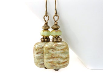 Pale Green Boho Dangle Earrings - Picasso Rectangle Glass Beads - Handmade Beaded Jewelry