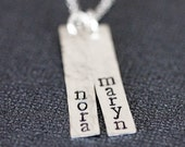 Sterling Silver Two Name Necklace, Vertical Two Name Bar Necklace, Childrens Names, Silver Nameplate Necklace, Personalized Silver Bar